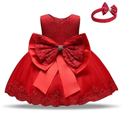 Inlefen Feestjurk voor babymeisjes, met strik, bloemen, mouwloos, prinsessenjurk voor 6 maanden tot 5 jaar