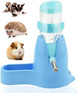Small Animal Water Bottle, Hamster Water Bottle with Holder, Dripless Pet Automatic Drinking Bottle with Food Container & Hideout Base, Chew Proof Water Feeding Bottle for Hamster/Hedgehog/Mice 80ML