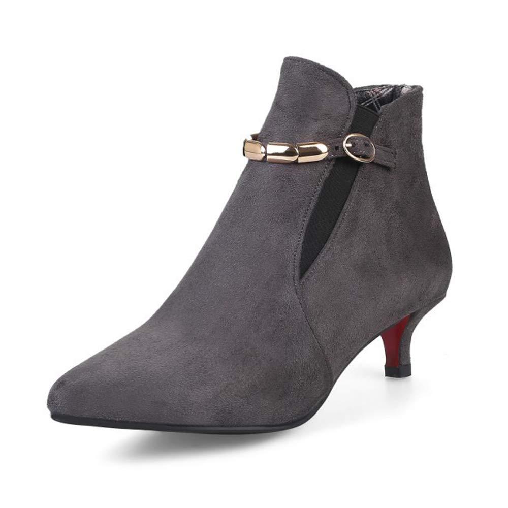 CITW Herbstliche Damenstiefel Wildleder Spitzenstiefel Großformat Damenschuhe Metallkette Mit Damen Stiefeln,grau,UK1 EUR35