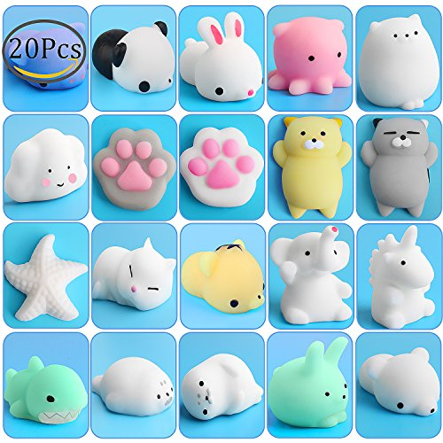 20 Animal (Kawaii Animal Squishies, Outee 20 Pcs Squishy Cat Stress Toy Animals Toys Mochi Animals Kawaii Squishies Cat Stress Relief Mochi Squishy Animal Toys Kawaii Squishy Stress Animals Stress Relief Toys)