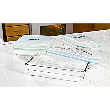 Glasslock 6-Piece Oven Safe Bakeware Set with lids,9 by 9-Inch 5 by 9-Inch 6.5 by 10.5-Inch