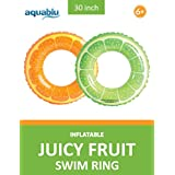 "aquablu Inflatable Inner Tube Cool Summer Swim Ring & Lounge Float for Pool Beach Lake River & More 30"" Diameter Juicy Fruit Design 2 Pack Perfect for Kids Teens & Adults Ages 6+"