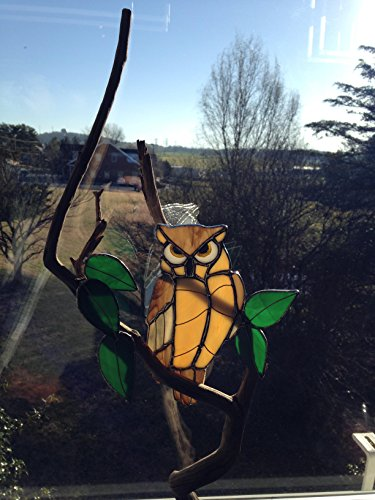 Stained Glass Owl on Wooden Branch with Stained Glass Leaves in Handcrafted Wooden Base -