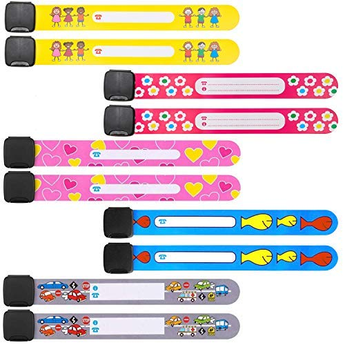 (10 Pack Child Safety Kid ID Bracelets Travel Name Wrist Bands for Kids & Parents, Toddler Emergency Wristband Strap Anti Lost for Children, Girls & Boys, Reusable Writable Waterproof Adustable.)