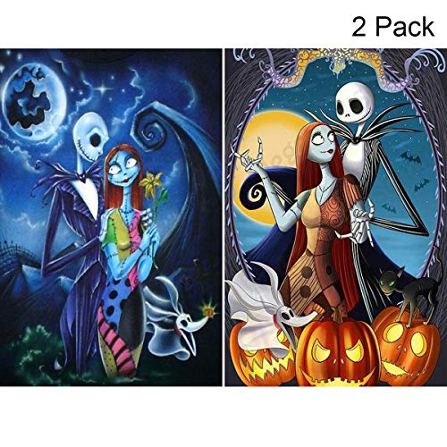 2 Pack 5D Full Drill Diamond Painting Kit, KISSBUTY DIY Diamond Rhinestone Painting Kits for Adults and Beginner Embroidery Arts Craft Home Decor, 15.8 X 11.8 Inch (Jack and Sally Halloween) ()