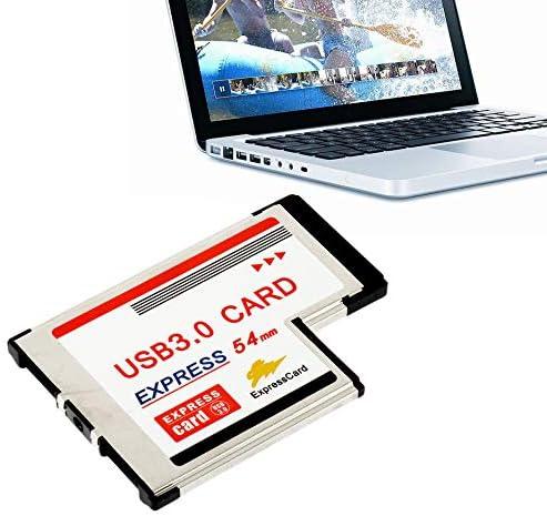 2 Port USB 3.0 Express Card ExpressCard 34mm//54mm Hidden Adapter For Laptop US