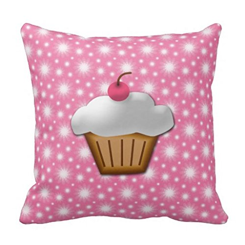 Cherry Red Jumbo Cup (Cute Pink Cherry Cupcake Throw Pillow Case 18