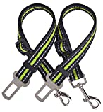 PUPTECK 2 Pack Adjustable Dog Seat Belts for Car Pet Reflective Safety Seatbelt Green