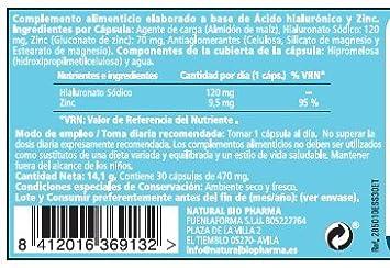 ACIDO HIALURONICO + ZINC suplemento alimenticio: Antienvejecimiento, antiarrugas e hidratación de la piel. Buen suplemento vitamínico para luchar contra el ...
