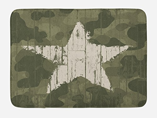 Bath Mat, Grungy Star Figure on Military Camo Background Army Soldier Hiding Theme, Plush Bathroom Decor Mat with Non Slip Backing, 29.5 W X 17.5 W Inches, Dark Green Dust ()