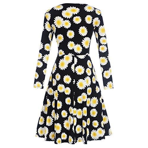 51c227a6582 iShine elegant Kleid Damen V-Ausschnitt Langarm Rockabilly Kleid mit  Blumendrucken Vintage 50s Kleider Audrey ...