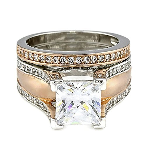 2CT Princess Cut Bold Cathedral Setting Rose Gold Plated Two Tone Wedding Eng