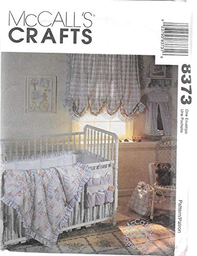 McCall's 8373 Sewing Pattern Baby Crib Comforter Ruffle Bumper Curtains Laundry Bag