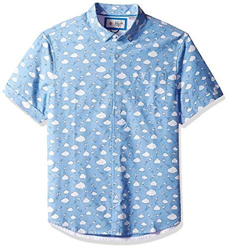 Original Penguin Men's Short Sleeve Printed Button Down Shirt, Diva Blue Airplanes, L