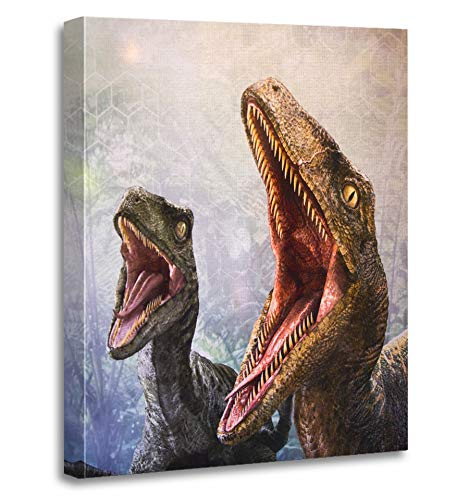 Emvency Painting Canvas Print Artwork Decorative Print Los Angeles USA Sep 27 Velociraptor in Area The Universal Studios Hollywood Wooden Frame 20x30 inches Wall Art for Home Decor -