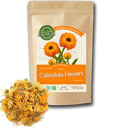 (Calendula Flowers Tea | 4oz - 113 g | Whole Dried Calendula Flowers | Herbal Tea Marigold | Eat Well Premium Foods)