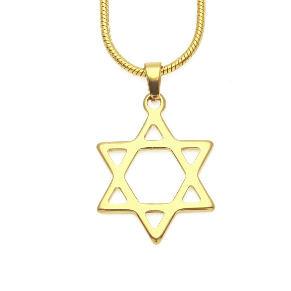 JAJAFOOK Hip Hop 18K Gold Plated Jewish Star of David Pendant with 17.5 Stainless Steel Snake Chain Necklace