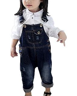 e3e1e9eb42e LaoZanA Children s Denim Dungarees Denim Bib Overalls Boys and Girls Slim  Leg Dungarees Jean Overalls