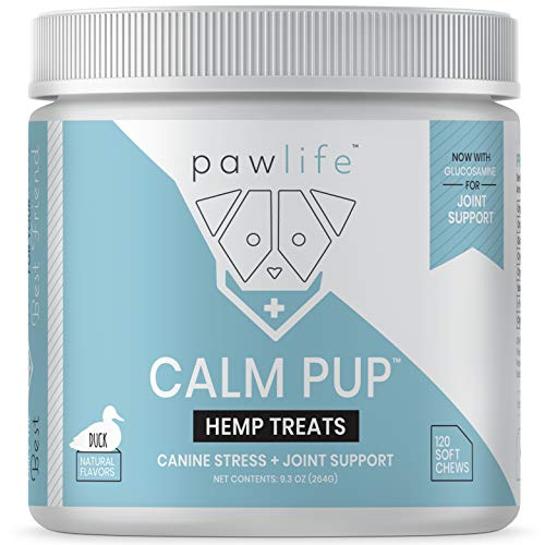 pawlife Calming Treats for Dogs Plus Glucosamine - Hemp Oil Infused Soft Chews for Dog Anxiety Support- 120 Dog Calming Treats (Duck) (All Dog Stuff)