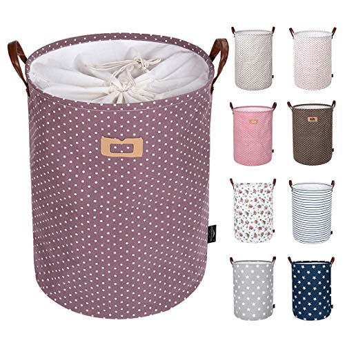 DOKEHOM DKA0822PEL 19 Thickened Large Laundry Basket -(9 Colors, 19 and 22)- with Durable Leather Handle, Waterproof Round Cotton Linen Collapsible Storage Basket (Purple, L)