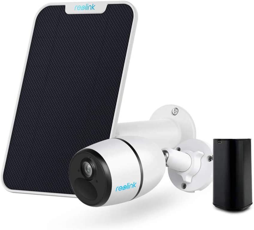 Security Camera Outdoor, 1080P HD 3G/4G LTE Home Security Camera Reolink Go with Solar Panel and Rechargeable Battery Bundle