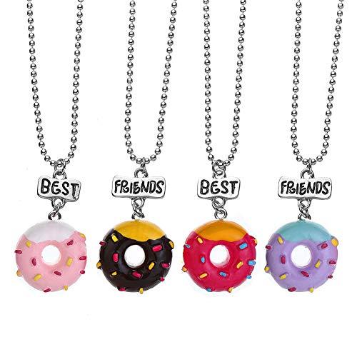 Pibupibu 4 Packs BFF Best Friends Kids Children Resin Pendant Necklace
