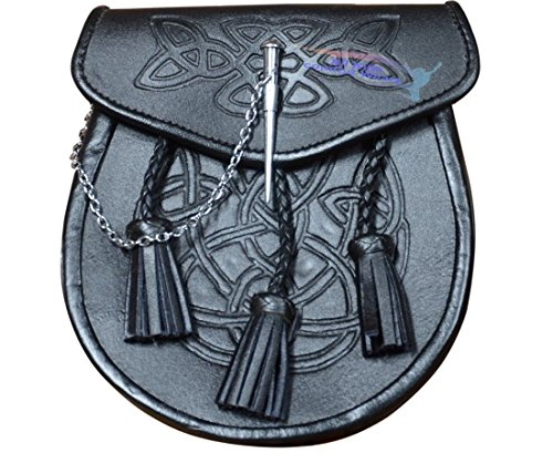 CELTIC EMBOSSED BLACK LEATHER LATCH PIN KILT SPORRAN With Belt and Chain by All Kilts Sports (Image #1)