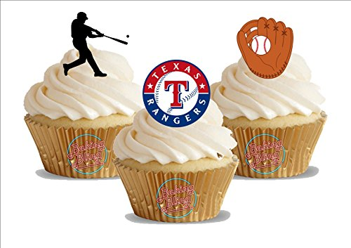 12 x Baseball Texas Rangers Mix - Fun Novelty Birthday PREMIUM STAND UP Edible Wafer Card Cake Toppers Decoration (Texas Champagne)