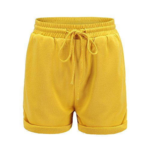 ONLY TOP Women's Drawstring Elastic Waist Casual Solid Comfy Cotton Linen Beach Shorts Yellow
