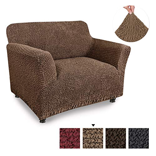 PAULATO BY GA.I.CO. Chair Cover - Armchair Cover - Armchair Slipcover - Cotton Fabric Slipcover - 1-Piece Form Fit Stretch Stylish Furniture Protector - Mille Righe Collection - Camel (Chair)