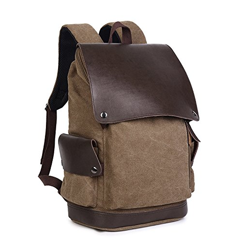 Bags Bags Brown Laptop XIAOLONGY Men's Student Canvas Women's And New Travel Backpacks pSqxTv
