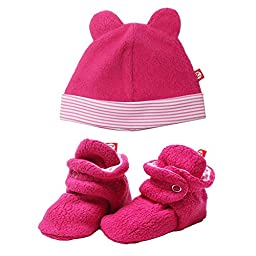 Zutano Cozie Fleece Winter Hat and Baby Bootie Set Fuchsia Pink - 12M