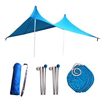UPF50 CUTICATE Sunshade Beach Tent Pop Up Portable UV Protection Canopy Sun Shelter with Anchors and Poles For Camping Outdoor Family Activities