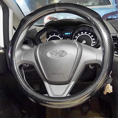 Mightyfox Carbon Fiber Steering Wheel Covers Universal Fit 15 inch for Men Ergonomics Design Anti-Slip Inner Blue Rubber AWS01B
