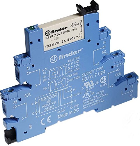 Finder 38.51.0.024.0060 SPDT 6A, 24V AC/DC Coil, AgNi Contact, EMR Interface Module