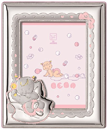 Silver Touch USA Sterling Silver Picture Frame, Pink, 5'' x 7''