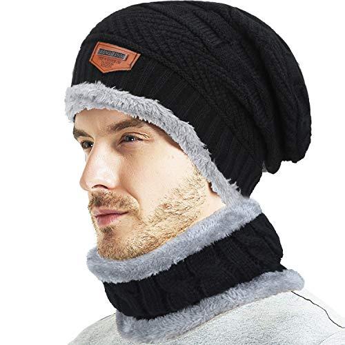 (Fantastic Zone 2-Pieces Winter Beanie Hat Scarf Set Warm Knit Hat Thick Fleece Lined Winter Hat & Scarf For Men Women)