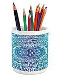 Ambesonne Ethnic Pencil Pen Holder, Spiritual Ritual Symbol of Universe Cultural Center Point Balance Meditation Theme, Printed Ceramic Pencil Pen Holder for Desk Office Accessory, Pale Blue