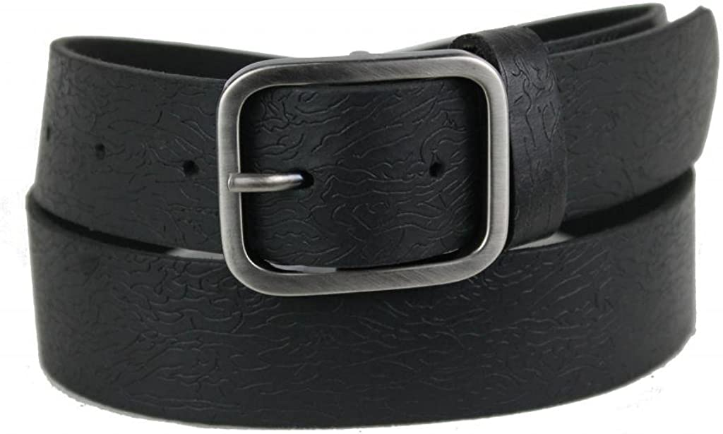 Mens Leather belt with Frame Dark Silver Buckle 1150