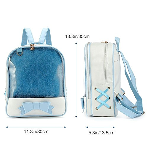 Transparent Knapsack Waterproof School Girls Laptop Backpack Blue Large Cute for Leather Satchel Bag Capacity zvqw1v7