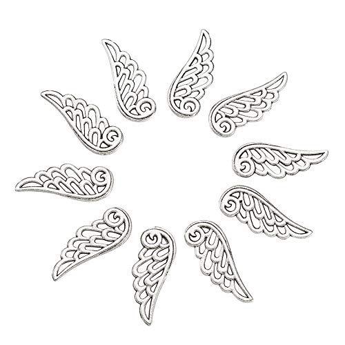 Craftdady 20Pcs Antique Silver Filigree Hollow Angel Wing Charms 24x9.5mm Lead Free & Cadmium Free Tibetan Metal Feather Pendants for DIY Jewelry Craft Making