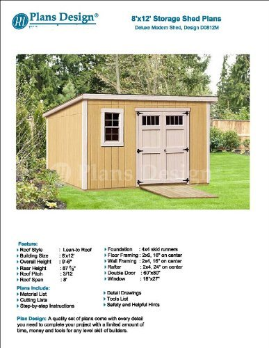 8 X 12 Deluxe Back Yard Storage Shed Project Plans Do It Yourself Modern Roof Style Design D0812m