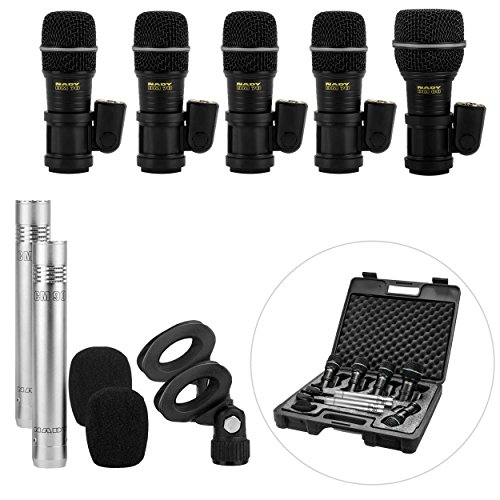 Nady DMK-7 Seven Piece Drum Microphone Kit - Includes four DM-70 microphones, two CM-90 overhead microphones and one DM-80 kick drum microphone in a storage case
