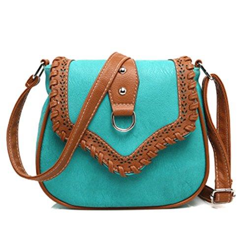 UNYU Saddle Bag - Bolso al hombro para mujer Azul (Pavo Real)