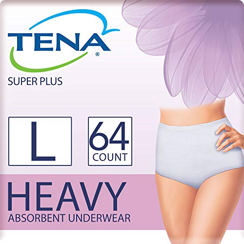 (Tena Incontinence Underwear for Women, Super Plus Absorbency, Large, 64 Count)