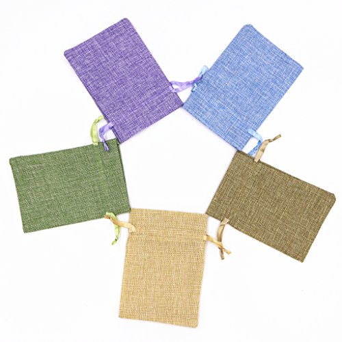 Fvstar 25pcs multicolor Burlap Gift Bag Satin Drawstring Favor Pounches Wedding Party Festival Present Bags (Satin Favor Bag)