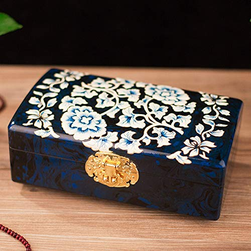 HAIHF Jewelry Box, Mother of Pearl Inlay Art Peony Flower Design Asian Lacquer Wooden Jewellery Trinket Keepsake Treasure Gift Chinese Oriental Furniture & Gifts