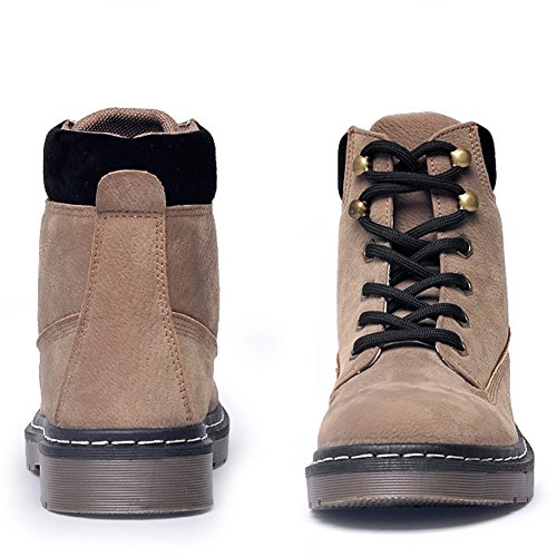Frestepvie Women's Boots Winter Chelsea Low Block Ladies Ankle Boots Bootie Outdoor Grip Sole High Top Hiking Desert Biking Shoes Khaki Fur Lined eB79UOx
