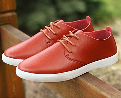 Summerwhisper Mens Trendy Low Top Lace-up Round Toe Casual Shoes Skateboard Sneakers Brown wABi1JJHRk