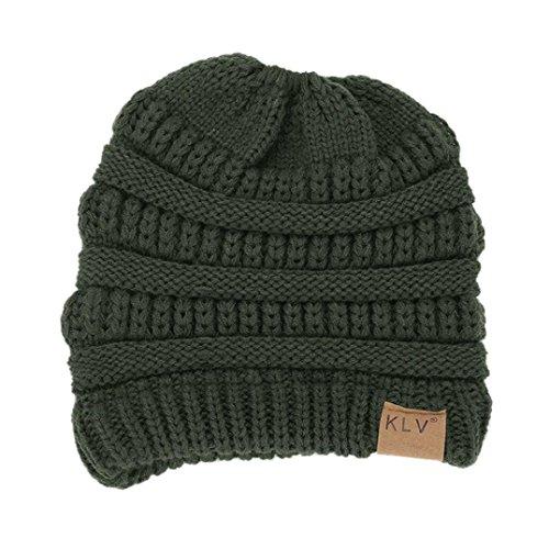 Horsetail Hat , Binmer(TM) Baggy Warm Crochet Winter Wool Knit Ski Hat for Women Ladies (Army Green) (Crochet Ski Hat)